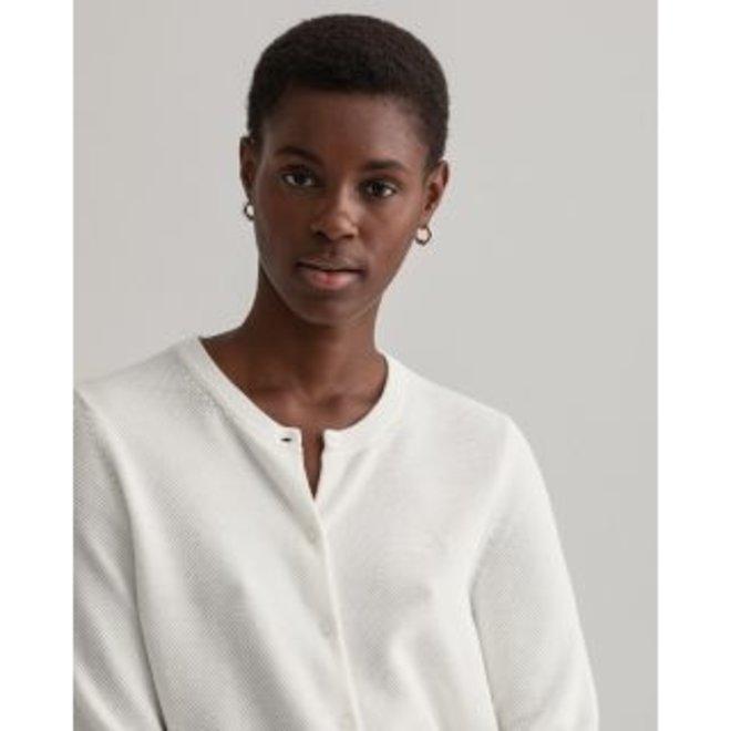 White Cotton Piqué Cardigan women