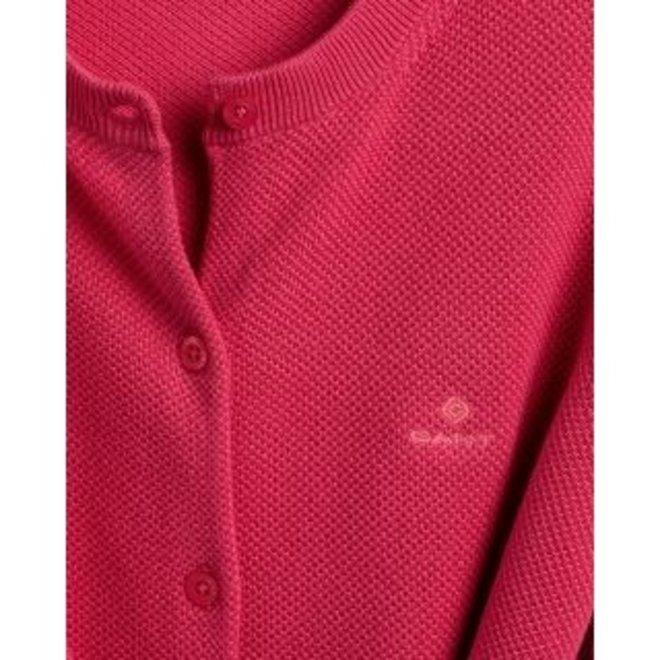 Red Cotton Piqué Cardigan women