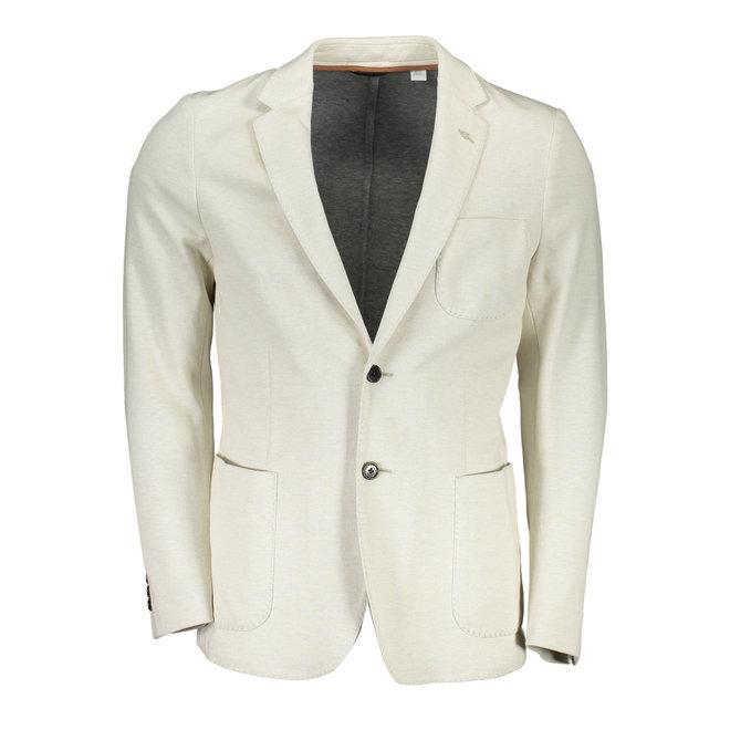 Cotton Pique Blazer  - Natural white