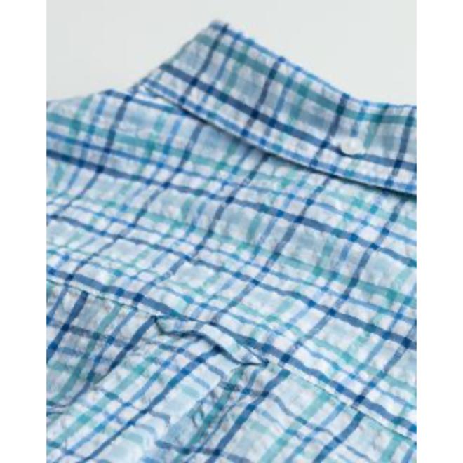 Regular Fit Tech Prep™ Check Seersucker Shirt - Blue