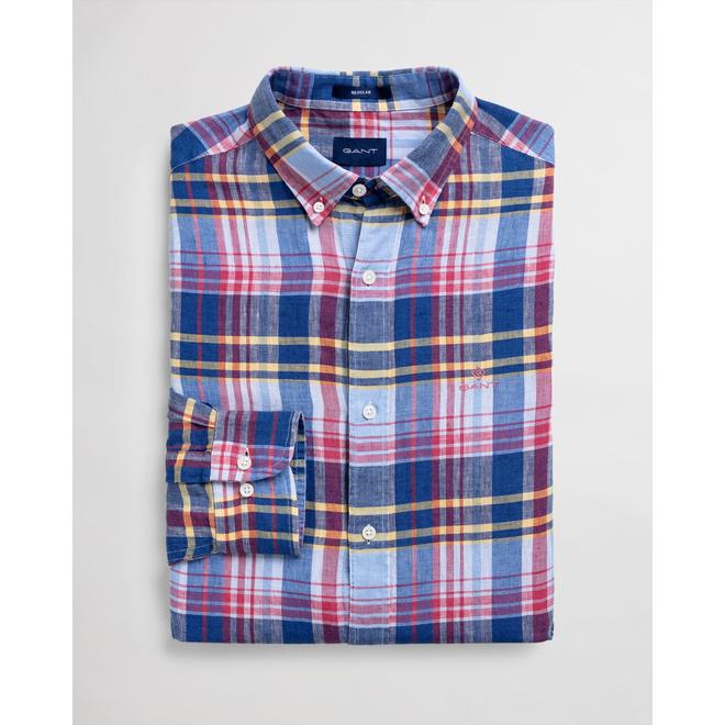 Blue Regular Fit Linen Madras Shirt