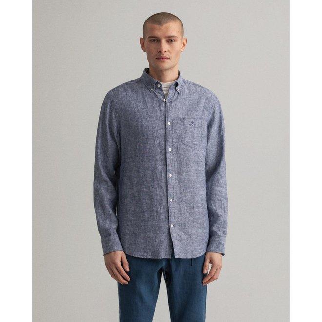 Blue Regular Fit Linen Shirt