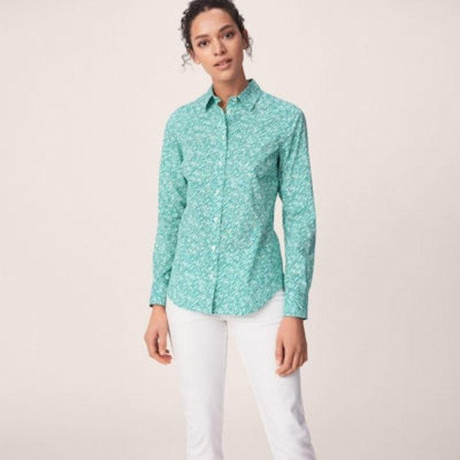 Stretch Broadcloth Ditzy Flower shirt women