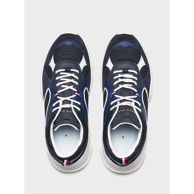 Panelled Chunky Lace-up sneakers - Blue