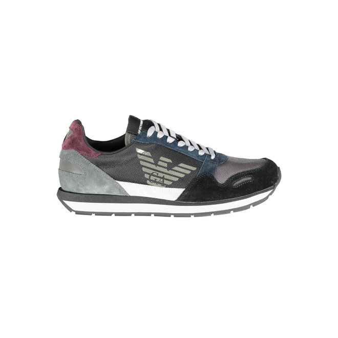 Mesh-and-suede sneakers with contrasting details - Grey