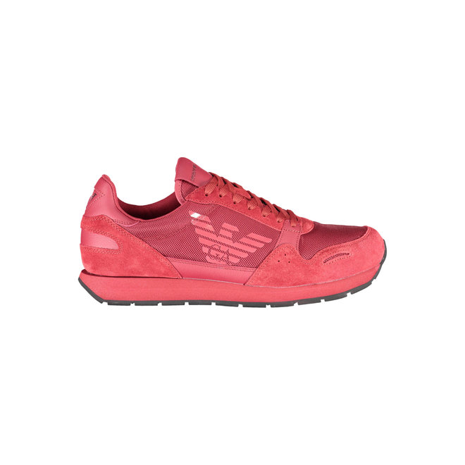 Mesh-and-suede sneakers with contrasting details -  Red