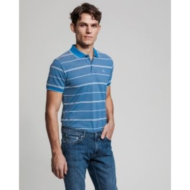 4-Color Oxford Stripe Piqué - Pacific Blue