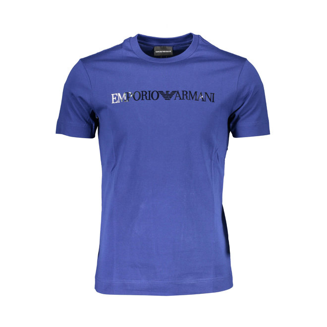 Lustrous jersey T-shirt with logo print - Blue