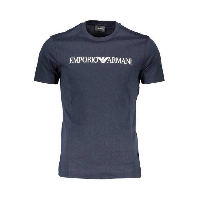 Lustrous jersey T-shirt with logo print - Aegean blue