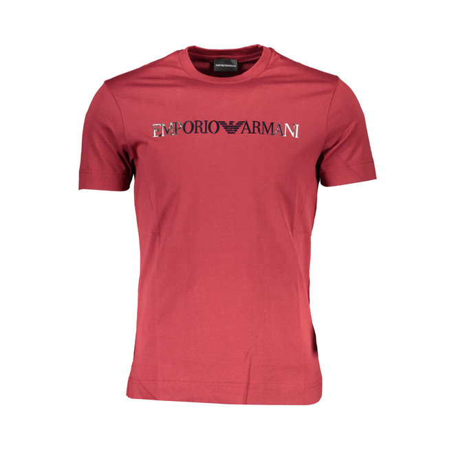 Lustrous jersey T-shirt with logo print  - Red
