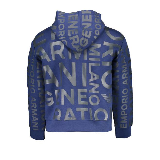 Oversize Logo Hooded Sweatshirt - Blue