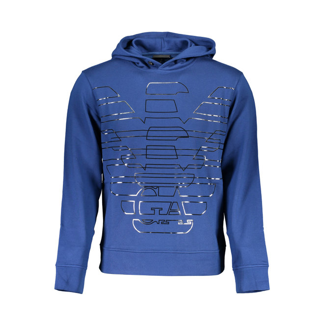Hooded cotton sweatshirt with big logo - Blue