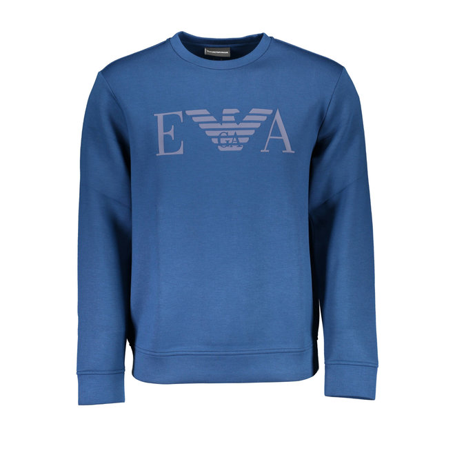 Crewneck sweatshirt in neoprene-effect jersey with logo print - Blue