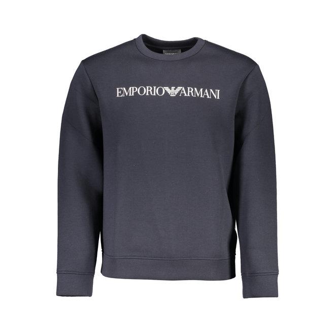 Crewneck sweatshirt in neoprene-effect jersey with logo print - Black