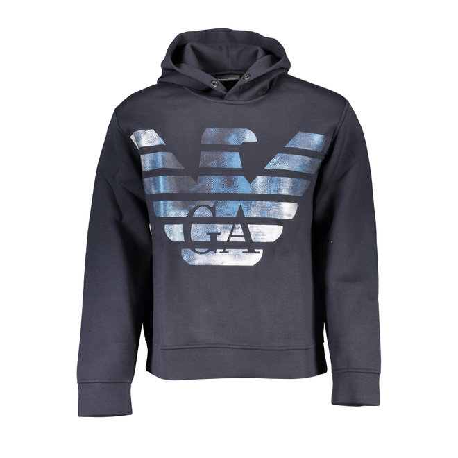 Hooded sweatshirt with eagle logo -Black