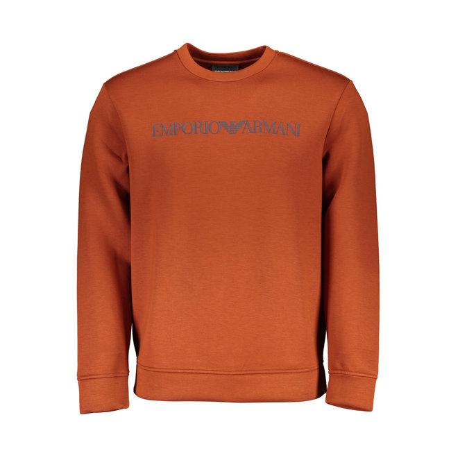 Crewneck sweatshirt in neoprene-effect jersey with logo print - Rust red