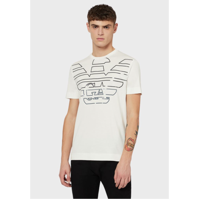 Mercerised-jersey T-shirt with oversized, stencilled eagle - White