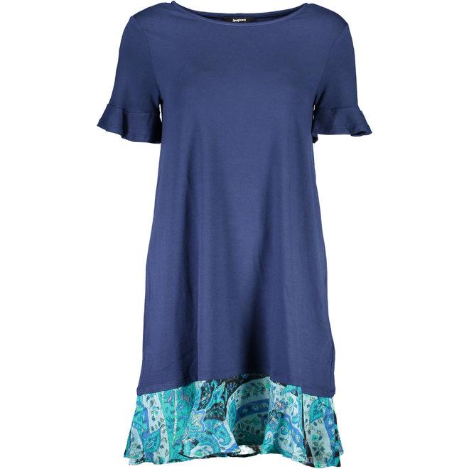 Flared T-shirt dress flounced hem - Blue
