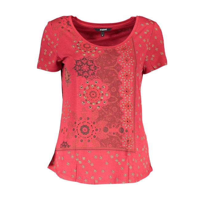 T-shirt short sleeve mandalas - Red