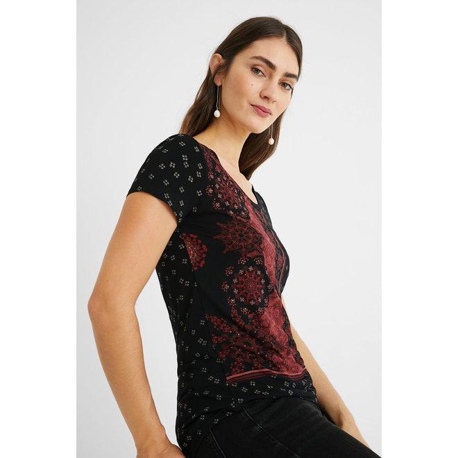 T-shirt short sleeve mandalas - Black
