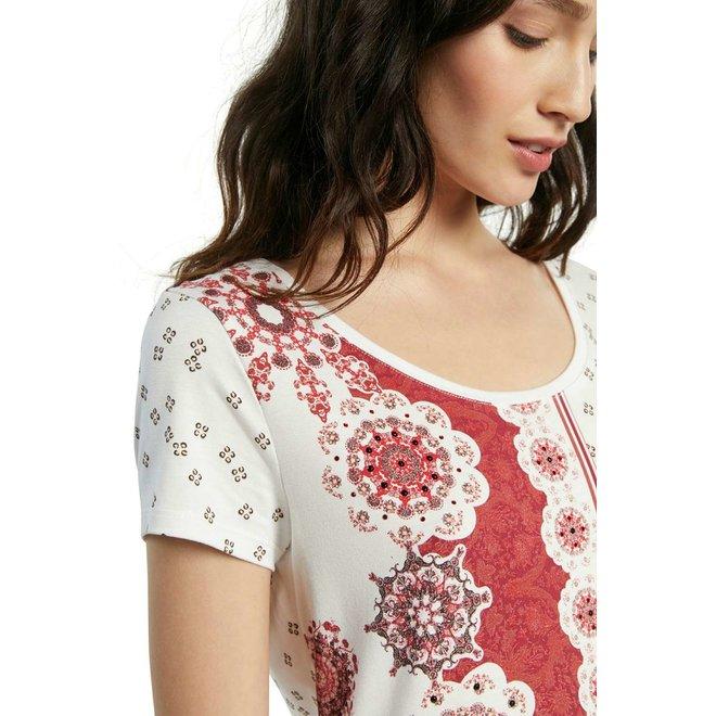 T-shirt short sleeve mandalas - White