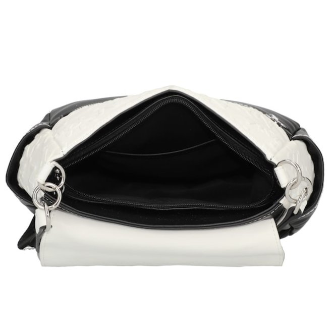 Synthetic leather black&white backpack