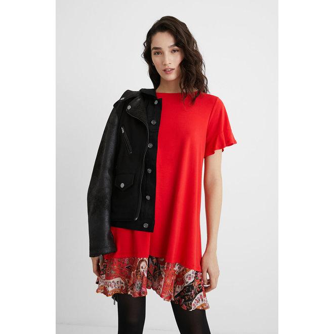 Flared T-shirt dress flounced hem - Red