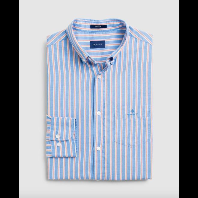 Blue Regular Fit Stripe Windblown Oxford Shirt