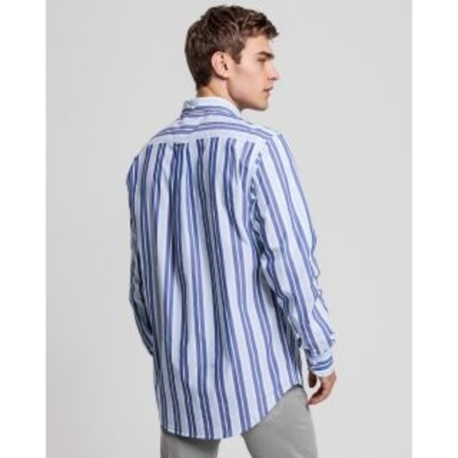 Regular Fit Tech Prep™ Stripe Broadcloth Shirt -Blue