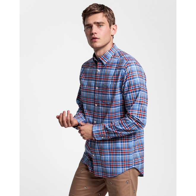 Regular Fit Preppy Plaid Oxford Shirt - Red