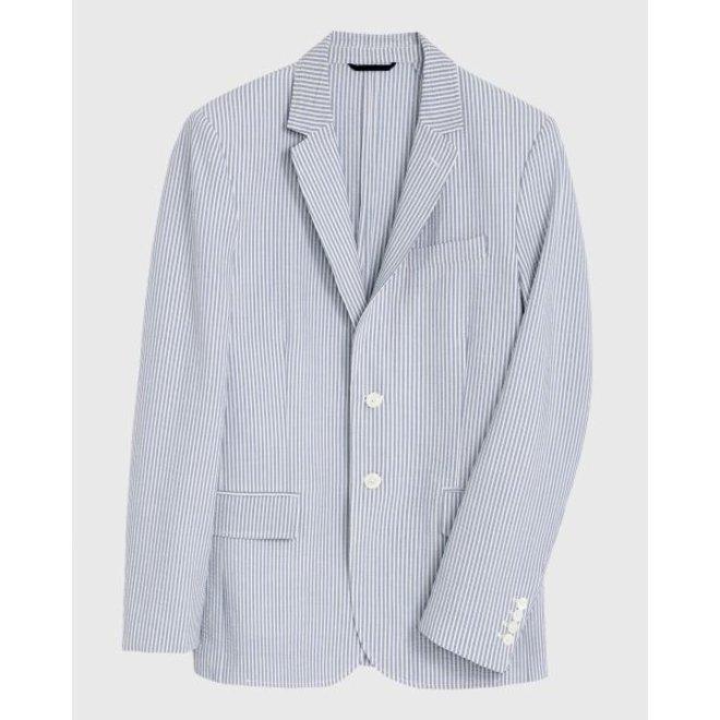 Stripe Seersucker Blazer Coat