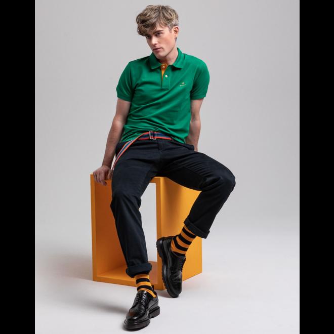 Contrast Collar Piqué Rugger - Kelly Green