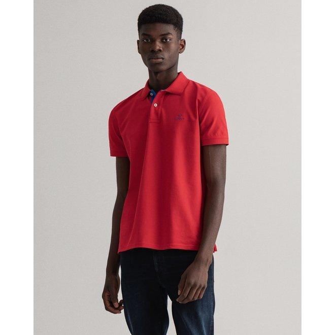 Contrast Collar Piqué Rugger - Bright Red