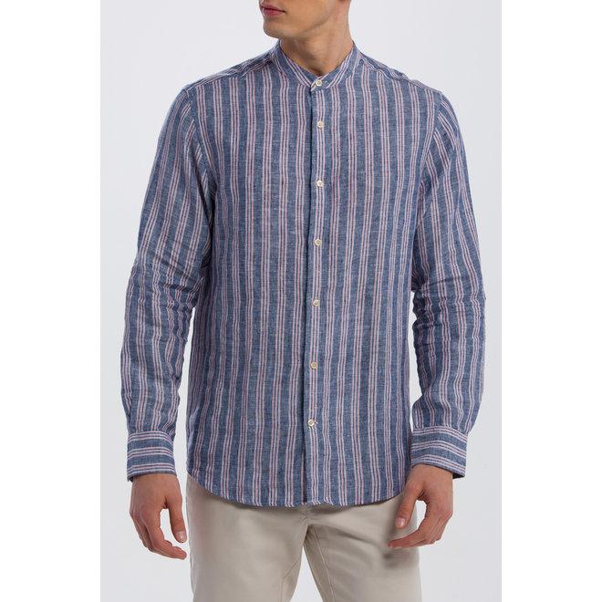 Linen Stripe Reg Grandad shirt - persian blue