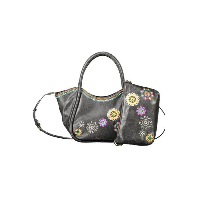 Floral shoulder-tote bag - Brown