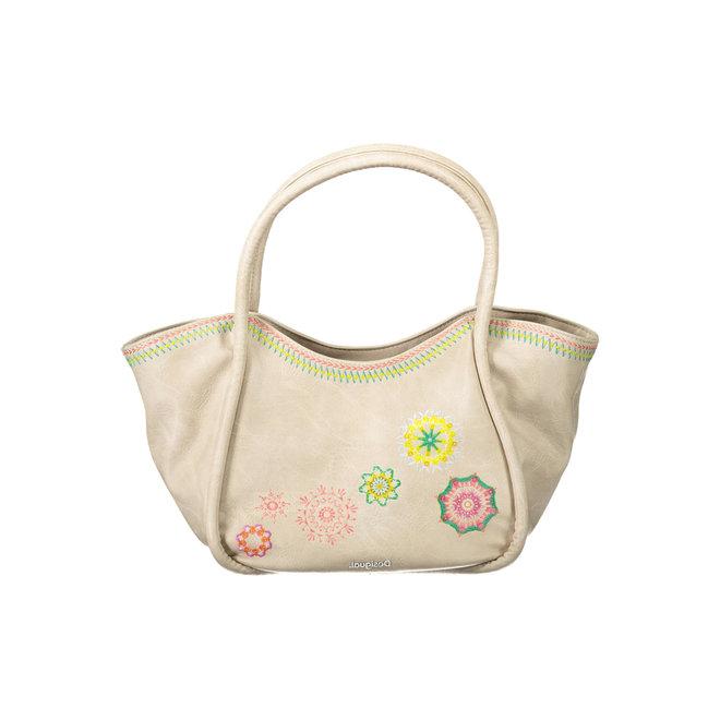 Floral shoulder-tote bag - Beige