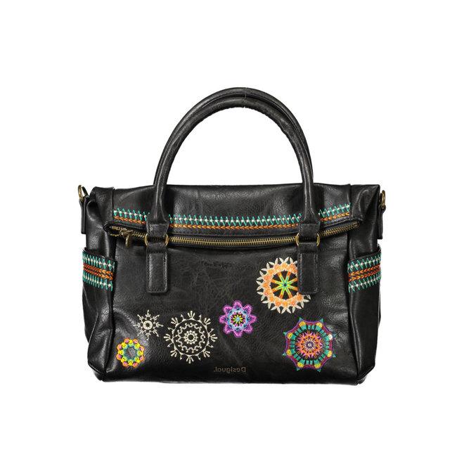Embroidered briefcase bag - Dark Brown