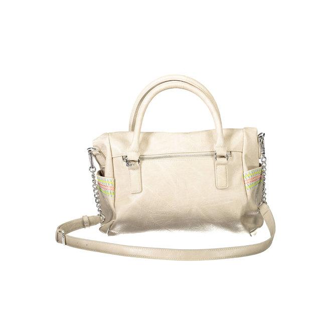Embroidered briefcase bag - Beige
