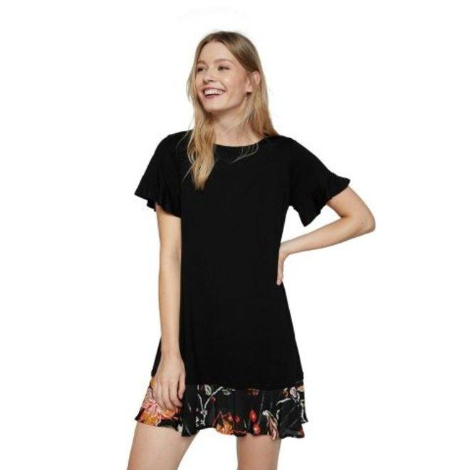 Flared T-shirt dress flounced hem - Black