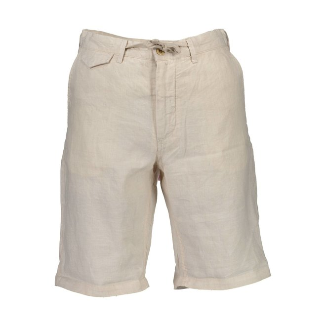 Relaxed Fit Linen Drawstring Shorts - Beige