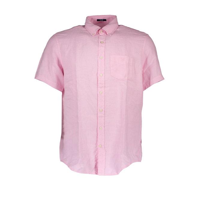 Men's Regular Fit Linen Short Sleeve Shirt - Pink