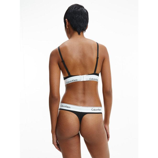Black Cotton Thong Women