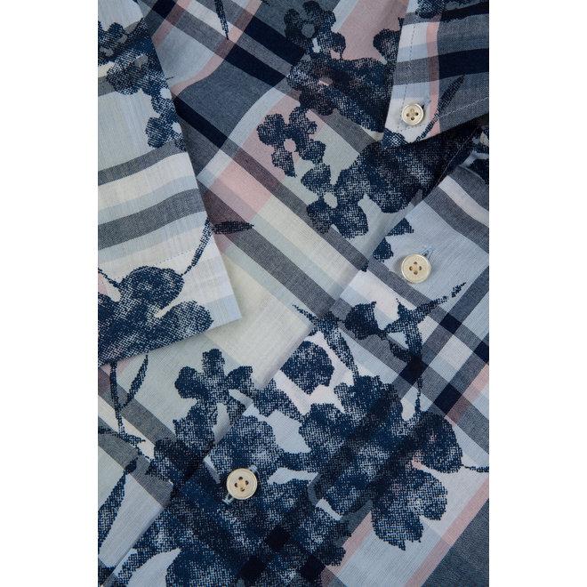 Printed Indigo Plaid Shirt