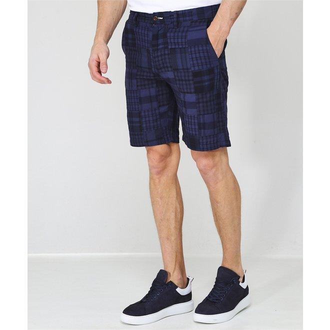 Blue Madras Cotton Check Shorts