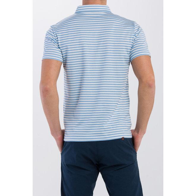 Repeat Stripe Jersey Rugger Polo - Capri Blue