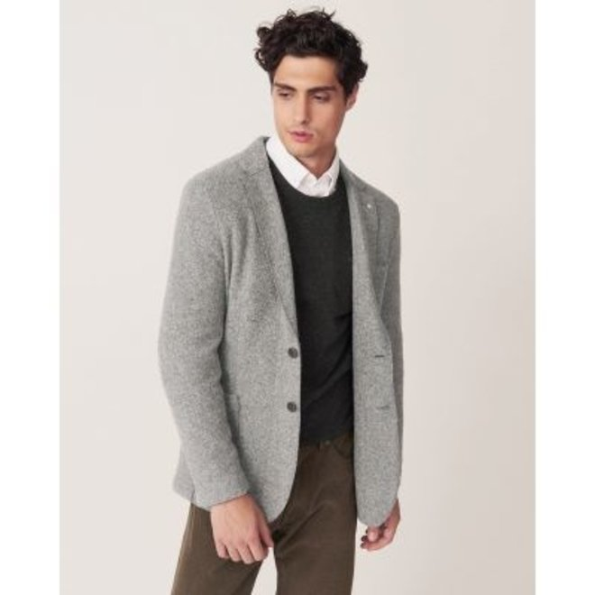 Slim Boiled Wool Blazer - Grey
