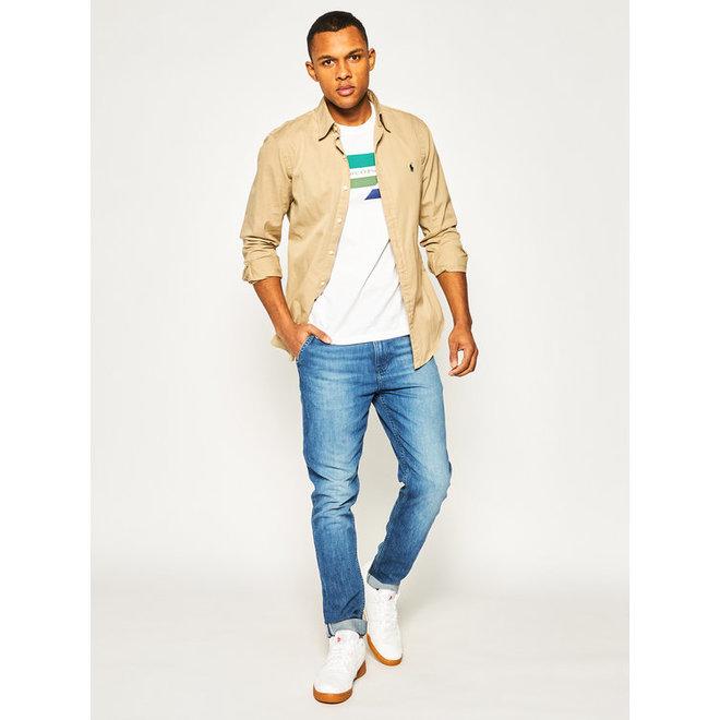 Tapered cotton linen denim trousers Men