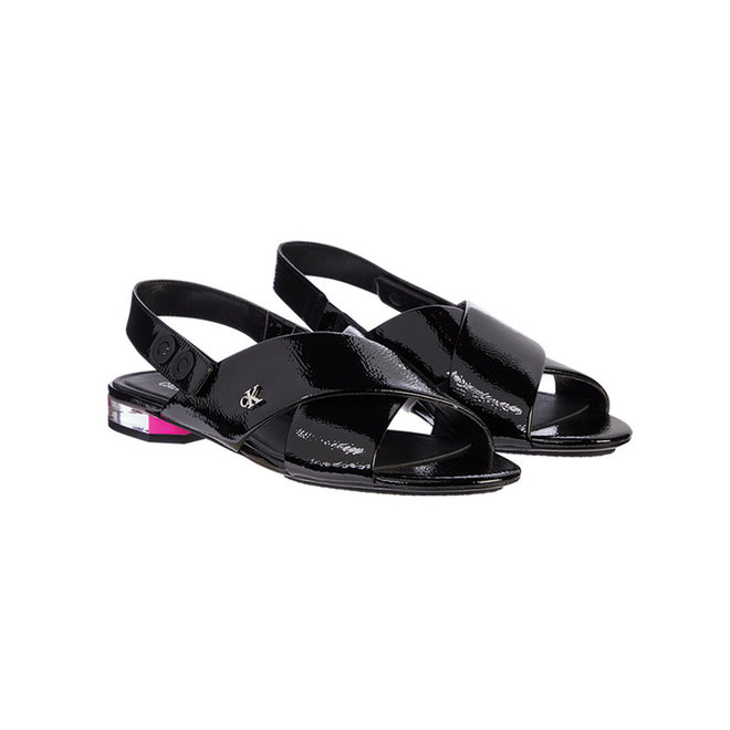 Leather Flat Sandals - Black