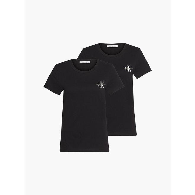 2- Pack slim organic cotton T- shirts women - Black