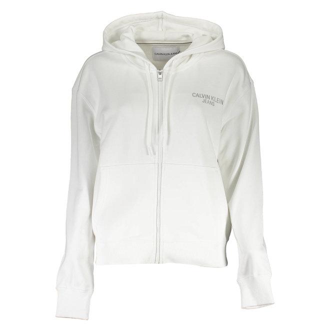White Logo Full Zip Hoodie Women